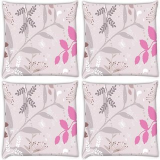 Snoogg Pack Of 4 Light Color Pattern Digitally Printed Cushion Cover Pillow 10 x 10 Inch