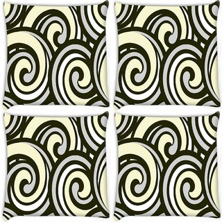 Snoogg Pack Of 4 Abstract Multicolor Waves Digitally Printed Cushion Cover Pillow 10 x 10 Inch