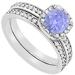 Tanzanite Halo Engagement Ring With Diamonds Wedding Band Sets Of 1.30 Carat