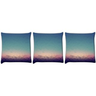 Snoogg Pack Of 3 Abstract Pattern Design Digitally Printed Cushion Cover Pillow 12 x 12 Inch