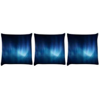 Snoogg Pack Of 3 Abstract Blue Pattern Design Digitally Printed Cushion Cover Pillow 12 x 12 Inch
