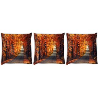Snoogg Pack Of 3 Orange Trees Digitally Printed Cushion Cover Pillow 12 x 12 Inch