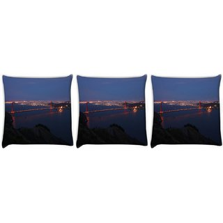 Snoogg Pack Of 3 Abstract Sealing At Night Digitally Printed Cushion Cover Pillow 12 x 12 Inch