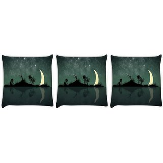 Snoogg Pack Of 3 Abstract Stars Digitally Printed Cushion Cover Pillow 12 x 12 Inch