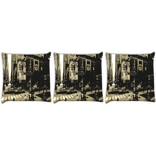 Snoogg Pack Of 3 Amazed City Digitally Printed Cushion Cover Pillow 12 x 12 Inch