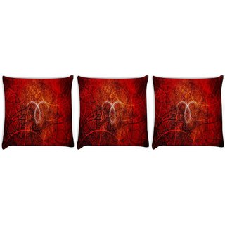 Snoogg Pack Of 3 Open Book Digitally Printed Cushion Cover Pillow 12 x 12 Inch