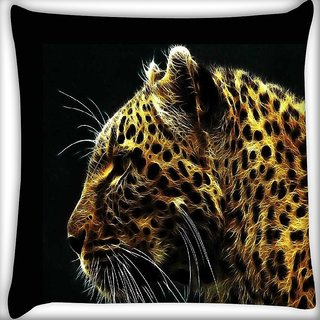 Snoogg Neon tiger Digitally Printed Cushion Cover Pillow 12 x 12 Inch