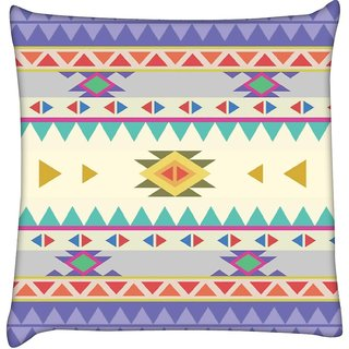 Snoogg  Aztec Pattern Purple Digitally Printed Cushion Cover Pillow 12 x 12 Inch