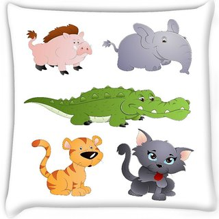 Snoogg  cute animals vectors  Digitally Printed Cushion Cover Pillow 12 x 12 Inch