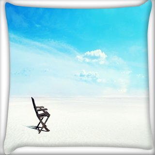 Snoogg White Sand Digitally Printed Cushion Cover Pillow 12 x 12 Inch