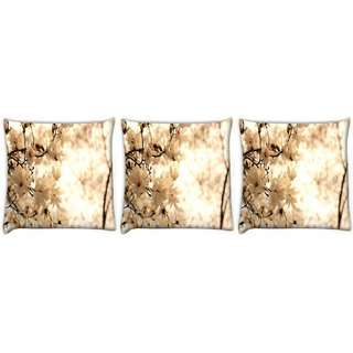 Snoogg Pack Of 3 Red Flowers And Grass Digitally Printed Cushion Cover Pillow 12 x 12 Inch