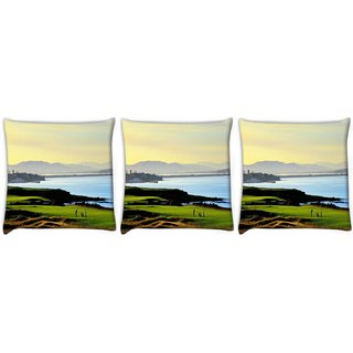 Snoogg Pack Of 3 Playing Golf Digitally Printed Cushion Cover Pillow 12 x 12 Inch