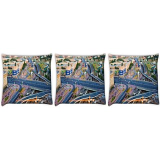 Snoogg Pack Of 3 Zig Zag Roads Digitally Printed Cushion Cover Pillow 12 x 12 Inch
