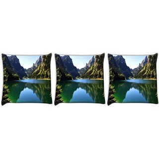 Snoogg Pack Of 3 Green River Digitally Printed Cushion Cover Pillow 12 x 12 Inch
