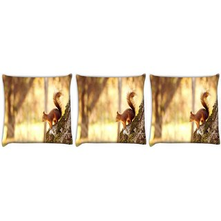 Snoogg Pack Of 3 Abstract Animal Digitally Printed Cushion Cover Pillow 12 x 12 Inch