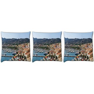 Snoogg Pack Of 3 Yards Digitally Printed Cushion Cover Pillow 12 x 12 Inch