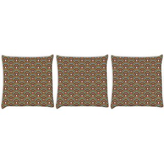 Snoogg Pack Of 3 Abstract Multicolor Digitally Printed Cushion Cover Pillow 12 x 12 Inch