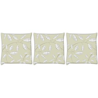 Snoogg Pack Of 3 White Leaves Digitally Printed Cushion Cover Pillow 12 x 12 Inch