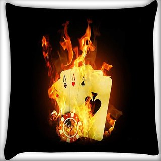 Snoogg Triple ace fire Digitally Printed Cushion Cover Pillow 12 x 12 Inch