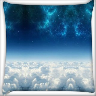 Snoogg electric sky Digitally Printed Cushion Cover Pillow 12 x 12 Inch
