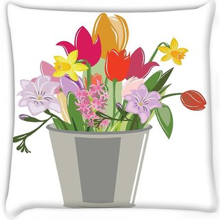 Snoogg  abstract spring illustration with lots of flowers Digitally Printed Cushion Cover Pillow 12 x 12 Inch