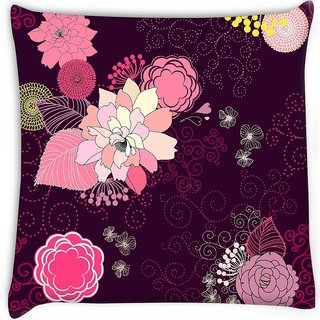 Snoogg  vector flower seamless pattern Digitally Printed Cushion Cover Pillow 12 x 12 Inch