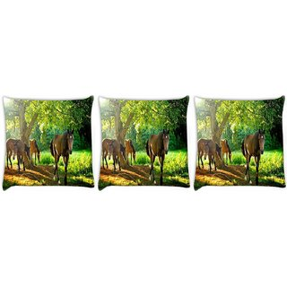 Snoogg Pack Of 3 Brown Horse Digitally Printed Cushion Cover Pillow 12 x 12 Inch