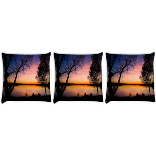 Snoogg Pack Of 3 Trees At Night Digitally Printed Cushion Cover Pillow 12 x 12 Inch