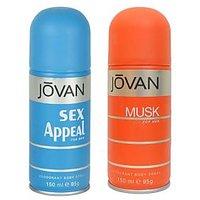 Jovan (Musk, Sex Appeal) Deodorant Men 150ml Pack Of 2