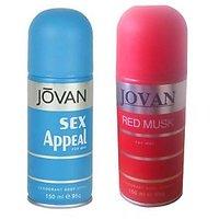 Jovan (Sex Appeal, Red Musk) Deodorant Men 150ml Pack Of 2