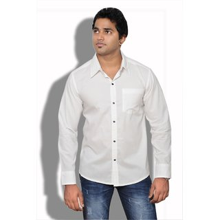 Neburu Stylish Men Cotton White Casual Shirt
