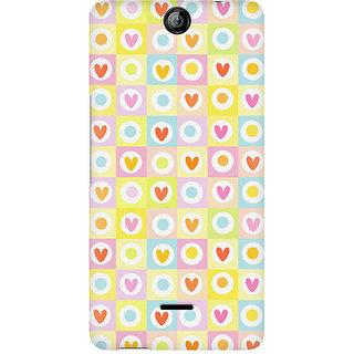 CopyCatz Cute Hearts In Squares Premium Printed Case For Micromax Canvas Juice 3 Q392
