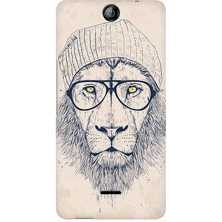CopyCatz Lion With Glasses Premium Printed Case For Micromax Canvas Juice 3 Q392