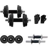 Power 22 Kg Adjustable Rubber Dumbells With Rubber Coated Dumbells Rods & Leather Gym Gloves