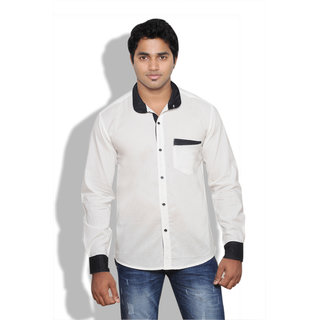 Neburu Voguish Men Cotton White Casual Shirt