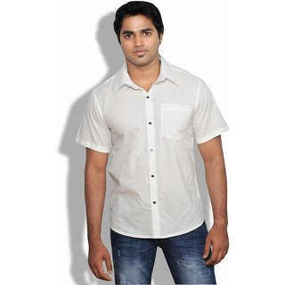 Neburu Nice Men Cotton White Casual Shirt