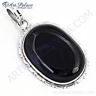 Designer & Royal Black Onyx Gemstone Silver Pendant