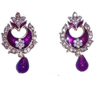 Fashionable Purple  golden Drop Earrings for women  girls By shrungarika ( e- 364 )