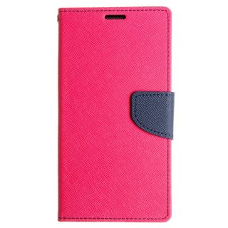 FANCY WALLET DIARY WITH STAND VIEW FAUX LEATHER FLIP COVER For Micromax Canvas 4 A210 PINK