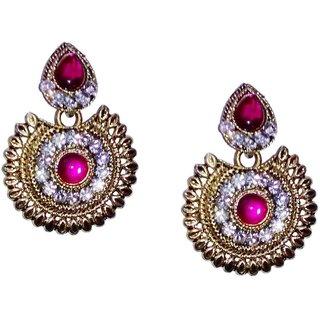 Fashionable pink  golden drop earrings for women  girls by shrungarika ( E-358 )