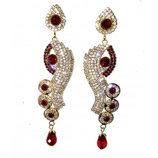 Traditional Golden  maroon Drop earrings for women  girls by shrungarika ( E-349 )