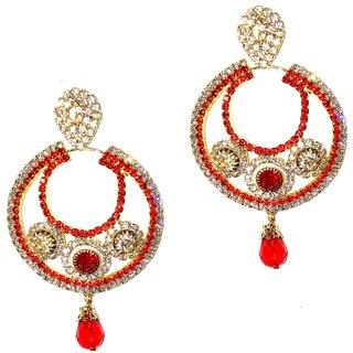 Traditional Golden  Red Hoop Earrings for women  girls by shrungarika ( E-350 )