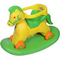 Ehomekart Green Marshal Horse 2-in-1 Rocker cum Ride-on for Kids