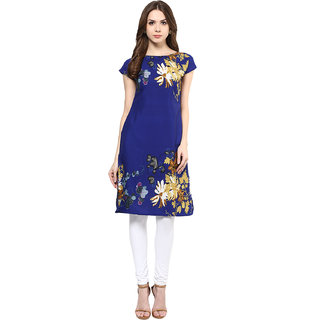 IVES Straight Blue  Crepe Floral Print Casual Kurti for Women