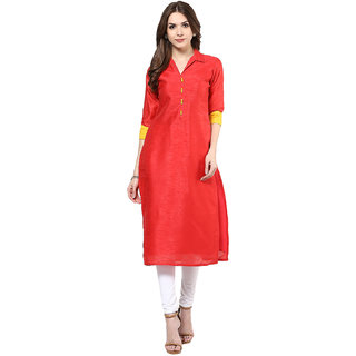 IVES Straight Pink Cotton Solid Casual Kurti for Women