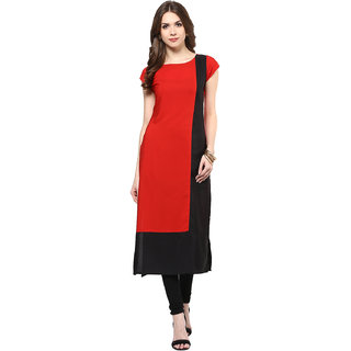 IVES Straight Red Cotton Solid Casual Kurti for Women