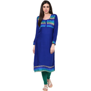 IVES Straight Blue Cotton Solid Casual Kurti for Women