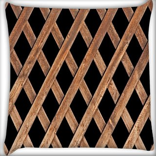 Snoogg Abstract Blocked Woods Digitally Printed Cushion Cover Pillow 18 x 18 Inch