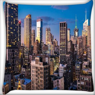 Snoogg Abstract Tall Buildings Digitally Printed Cushion Cover Pillow 18 x 18 Inch