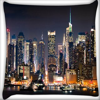 Snoogg Lights In Building Digitally Printed Cushion Cover Pillow 18 x 18 Inch
